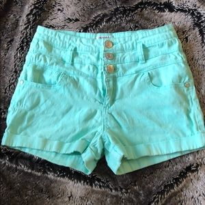 Celebrity Pink Jeans Blue Green High Rise Shorts